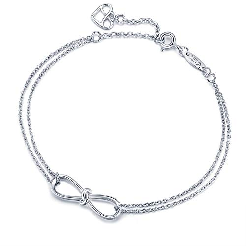 AmorAime Infinity Bracelet 925 Sterling Silver Bracelet Endless Love Charm Womens Adjustable Double Chains Girls Jewelry Gift for Mother's Day (Infinity Knot)