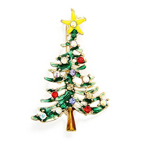 Crystal Rhinestone Christmas Tree Pin - DZT1968 Cute Christmas Tree Brooch Pins Crystal Rhinestone Christmas Gift