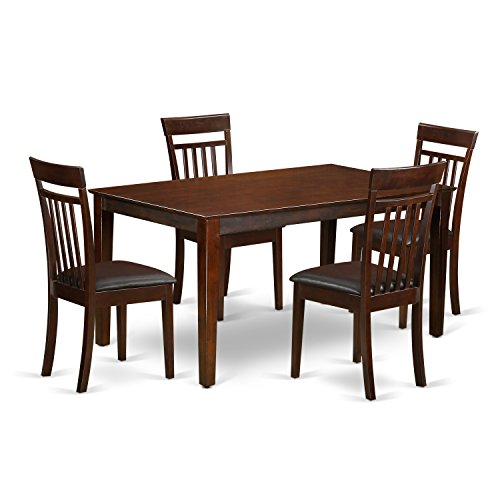 CAP5S-MAH-LC 5 Pc Dining room set for 4 set – Dining Table and 4 Dining Chairs