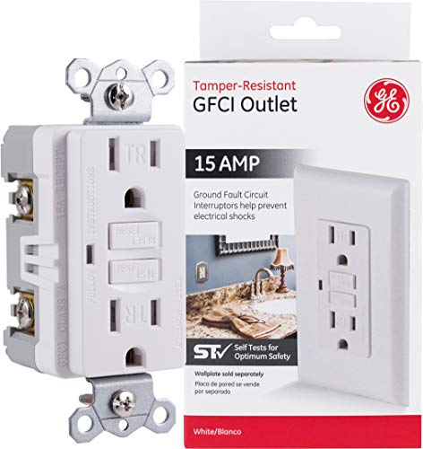 GE Tamper-Resistant GFCI Receptacle Outlet, 15-Amp 120-Volt, White, In-Wall, LED Indicator Light, UL Certified, NEC Compliant, Self-Test for Optimum Safety, 32075