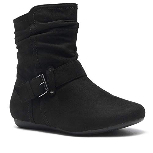Herstyle SHEARLLY Faux Suede Buckled Up Side Zipper Slouch Ankle Booties Flat Heel Calf Boots(Run Small,Order One Size Bigger) Black 7.0 Black Suede Buckled Ankle Bootie