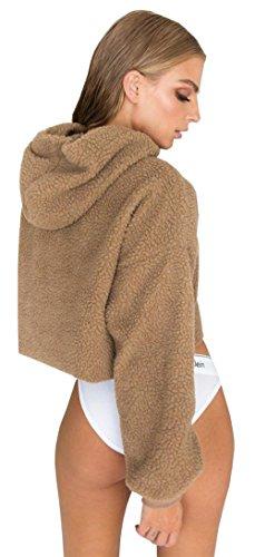- BTFBM 2018 Women's Long Sleeve Loose Hoodie Sweater Pullover Crop Top Blouse (Brown, X-Large)