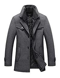 Mordenmiss Men's Wool Trench Coat Removable Windproof Inner Collar