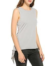 ACEVOG Women's Sleeveless Scoop Neck Irregular Hem Blouse Tunic Shirt Tank Tops