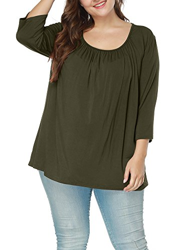 (Allegrace Women's Autumn Square Collar 3/4 Sleeve Ruched Blouses Loose Tee Top Army 4X)