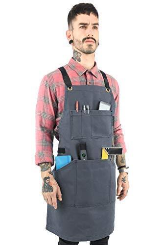 Under NY Sky Essential Gray Apron  Heavy Duty Waxed Canvas, Cross-Back with Split-Leg, Leather Reinforcement  Adjustable for Men, Women, Pro Mechanic, Welding, Woodwork, Blacksmith, Server Aprons