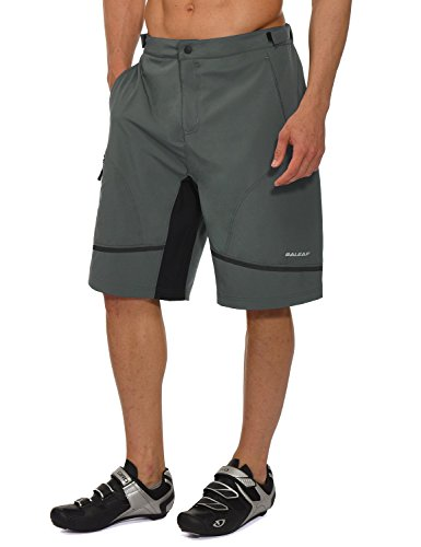 Baleaf Men's Hiking Shorts Loose-fit Cycling Shorts Quick Dry Lightweight Water-Resistant UPF 50+Gray Size L ()