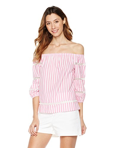 White Striped Shirt Top (Plumberry Women's Off-Shoulder 3/4 Sleeve Top X-Large Pink With White Striped)