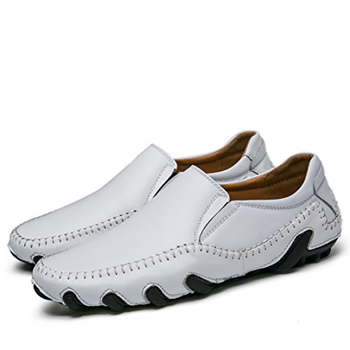 Go Tour Men s Casual Leather Stiching Fashion Walking Driving Shoes Slip-on Loafers 1 White 6G6u6s
