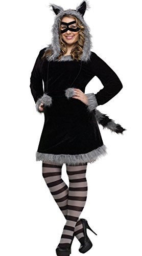 Fun World Girls' Big Plsz Racy Raccoon Cstm, Multi, Plus -