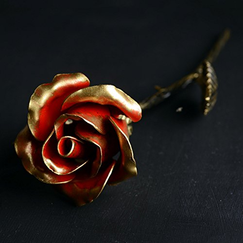 Hand Forged Iron Rose - 11th / 6th Year Wedding Anniversary Gift for Her/Red Metal Rose Steel Rose by MetalArt (Image #1)'