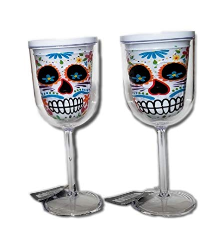 Day of the Dead Sugar Skull Plastic Wine Glasses (Set of 2) ()