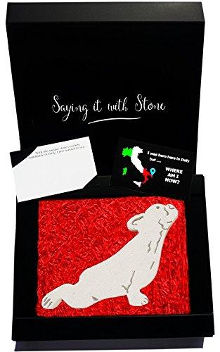 Upward Facing dog pose present idea Yoga lover. Urdhva Mukha Svanasan. Handmade in Italy from a rare stone containig fossil fragments. Elegant gift box & message card included. French bulldog frenchie