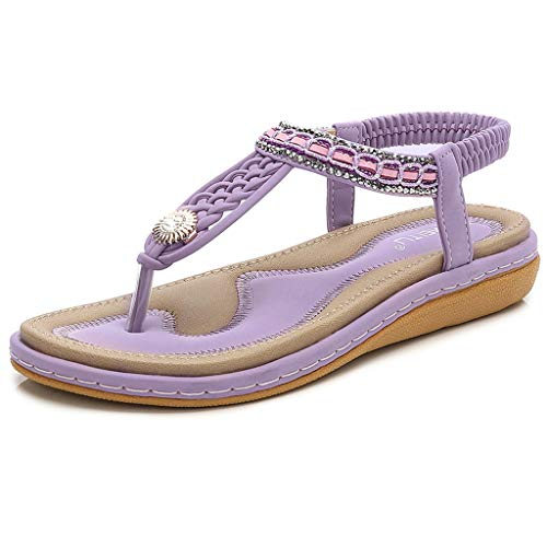 - Tantisy ♣↭♣ Women's Bohemian Casual Sandals/Crystal Woven Roman Sandals/Comfy Flat Shoes/Elastic Band/Heel High:3cm/1.2