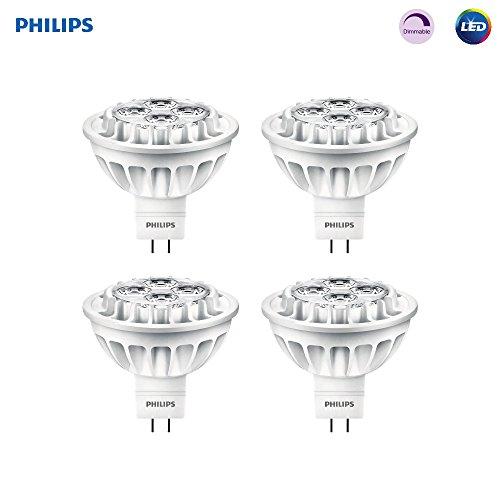 Bi Pin Base Reflector - Philips LED MR16 Dimmable 35-Degree AirFlux Spot Light Bulb: 500-Lumen, 3000-Kelvin, 7-Watt (50-Watt Equivalent), GU5.3 Bi-Pin Base, Bright White, 4-Pack