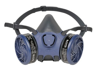 Moldex PVC Free Half Mask Reusable 7000 Series Air Purifying Respirator Assembly With Two 7100 Organic Vapor Cartridges, Two 8970 R-95 Pre-Filters And Two 7020 Pre-Filter Retainers - Size: Large by Moldex