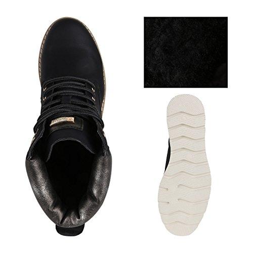 Stiefelparadies Damen Plateau Sneaker High Warm Gefütterte Sneakers Wildleder-Optik Winter Schuhe Plateauschuhe Schnürer Flandell Schwarz Metallic