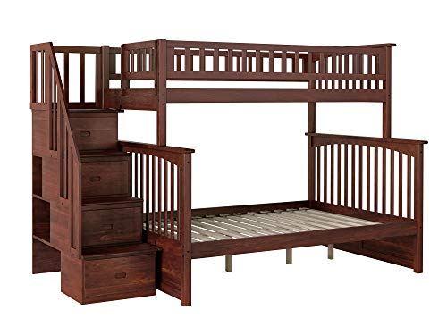 (Atlantic Furniture AB55704 Columbia Staircase Bunk Bed, Twin/Full, Walnut)