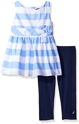 Nautica Striped Tie (Nautica Little Girls' Sleeveless Striped Top with Capri Legging Set, Light Blue, 5)