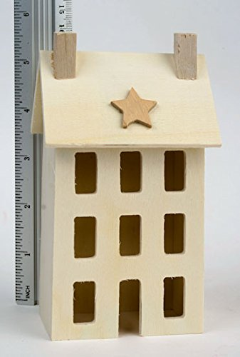 (4 Unfinished Wooden Saltbox Houses for Decorating and Crafting)