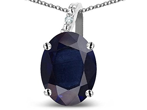 (Star K Oval 9x7 Genuine Dark Sapphire Journey Pendant Necklace 10 kt White Gold)