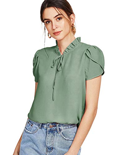 Romwe Women's Chiffon Casual Petal Short Sleeve Bow Tie Blouse Top Shirts Green M ()
