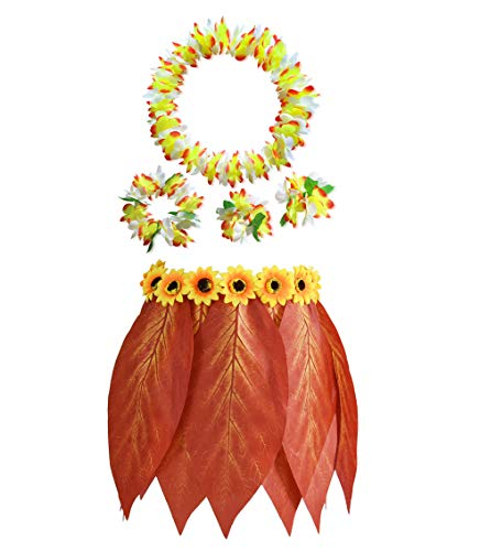 Hawaiian Elastic Hula Skirt with Hibiscus Flower Leis Leaf Sunflower Tropical Costume Set Party Decorations 5pcs]()