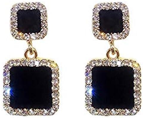 Pendientes Llamativos Pendientes Geométricos Cuadrados Negros Para Mujer Cristal Lujo Boda Pendiente Diamantes de imitación Color Mujer