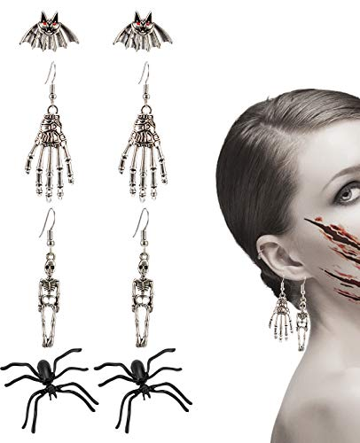MEWTOGO 4 Packs Halloween Drop Earrings Including Spiders+Human Skeleton +Skeleton Hands+Bats for Women and Girls Costume