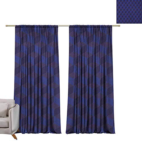 Curtains and Drapes Indigo,3D Print Like Geometrical Futuristic Inspired Shadow Boxes Cubes Image Print, Dark Blue and Blue W96 x L84 Window Drape for Bedroom