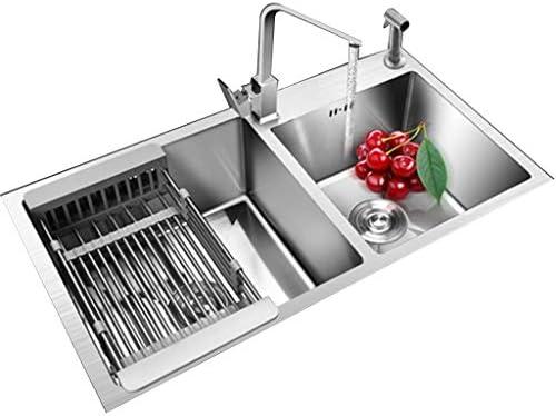 流し台シンク 蛇口とスプレーガン付きキッチンホームシンク レストランステンレス鋼の正方形のたらい 洗面台 (Color : Gray, Size : 81*43cm)