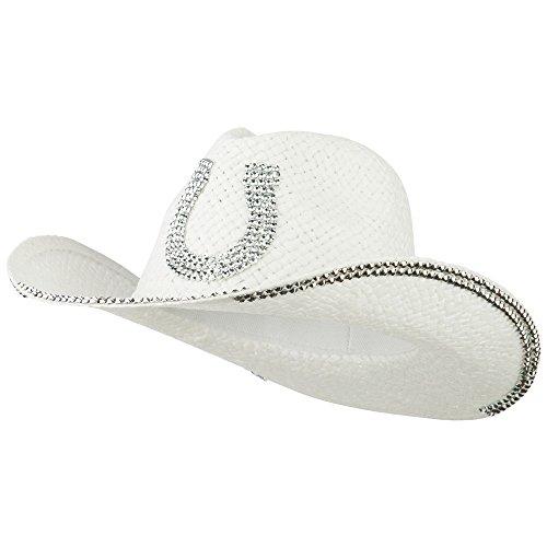 Rhinestone Horseshoe Cowboy Hat - White OSFM