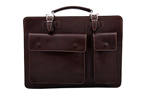 NOAH Aktentasche Leder Damen Herren große Leder-Tasche Herren-Tasche Dokumententasche Arbeitstasche leichte Notebook-tasche Laptop-tasche bis 13.3 Zoll Schultertasche Tasche (Schwarz) Braun 8foYu4dW