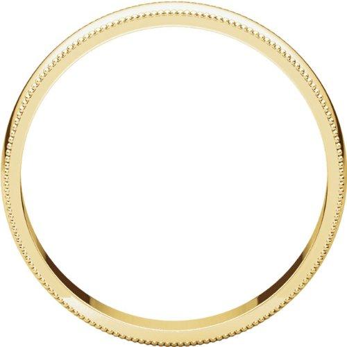 Mens 14K Yellow Gold 4mm Light Milgrain Half Round Wedding Band Ring