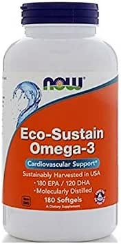NOW Supplements, Eco-Sustain Omega-3 (Sustainably Harvested in USA), 180 Softgels