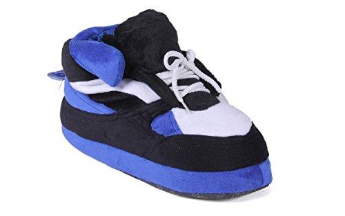 Pieds Heureux Hommes Et Femmes Pantoufles Sneaker Standard Bleu Noir Et Blanc