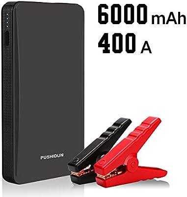 Arrancador de Coche Portatil 6000mAh 400A Jump Starter Power Bank Arrancador de Moto Arranque Bateria para 12V 2.5L Gasolina con Entrada de tipo USB(Negro)