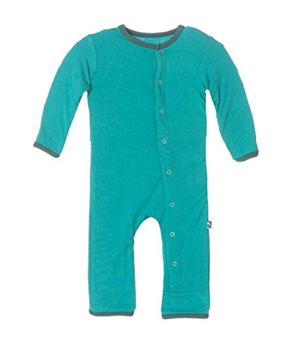 Kickee Pants Solid Coverall Lagoon with Seaweed, 0-3Months - Kickee Pants Coveralls