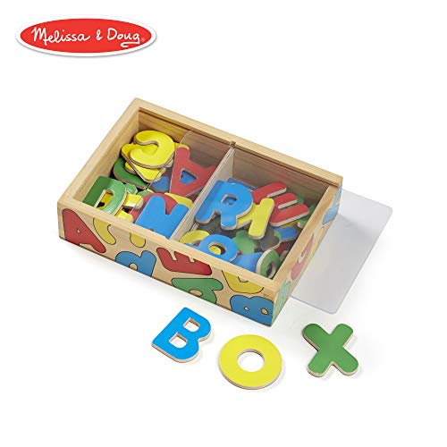 Melissa & Doug 52 Wooden Alphabet Magnets in a Box, Developmental Toys, Sturdy Wooden Construction, 52 Pieces, 7.8″ H × 5.45″ W × 1.85″ L ()