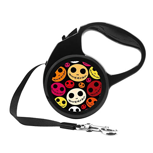 (Retractable Dog Leash, 7ft Dog Walking Leash for Small Dogs up to 26lbs, One Button Break & Lock, Unique Design - Halloween Faces Pattern)