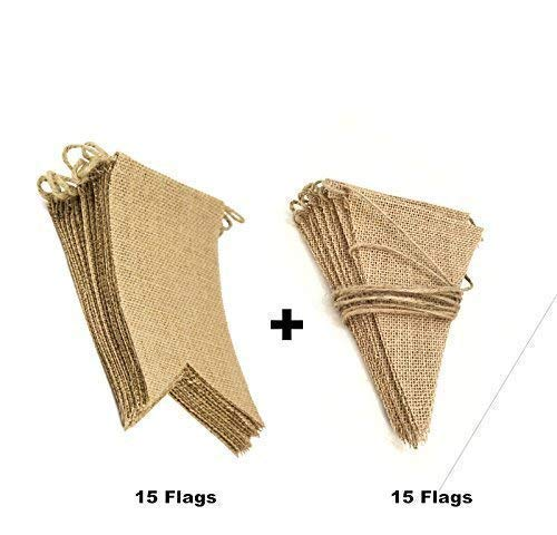 CTY Craft 2pcs 15+15 Flags DIY Burlap Bunting Banner for Wedding Party ()