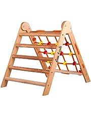 RINAGYM Klimdriehoek, indoorladder met klimnet, inklapbaar houten frame voor kinderen, bevordert het evenwicht, verf en lak op waterbasis, veiligheidsslot, 50 kg draagkracht