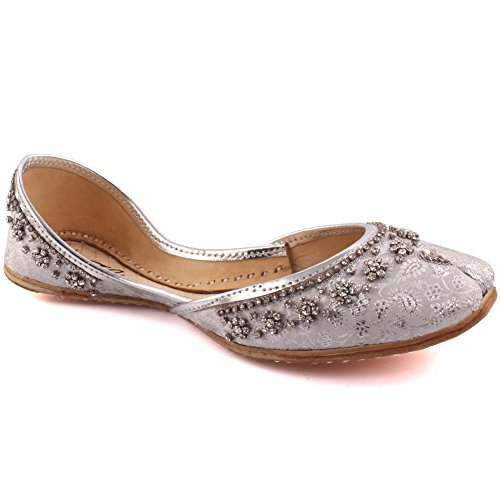 Unze Women Ladies Traditional Malla Beaded Indian Casual Leather Flat Khussa Slippers Shoes UK Size 3-8 Silver dDpkaDCg