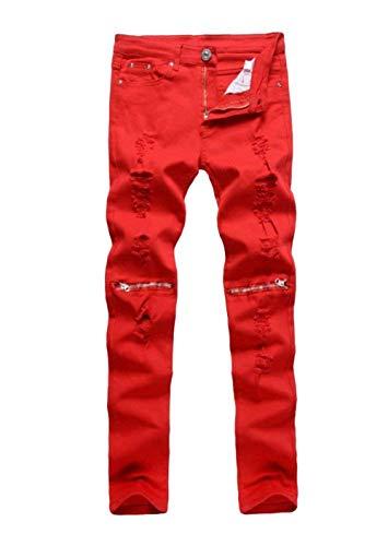 Club Ginocchio Nuovi Rot Uomo Abbigliamento Chiusura Skinny Denim Streetwear Jeans Pantaloni Super Adelina Al Da w1vqO4