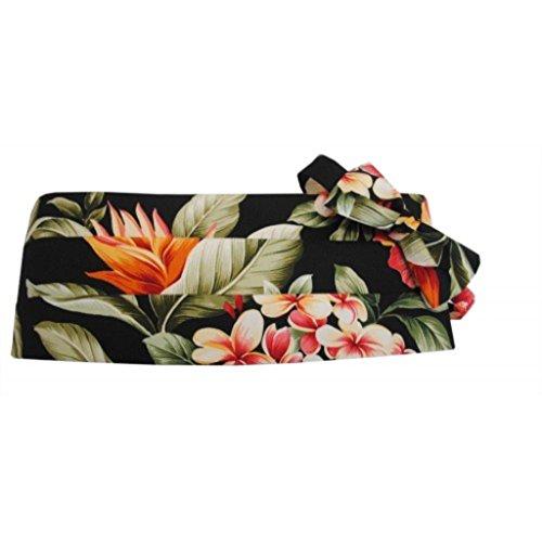 Hawaiian Awaphu, Kokio, Plumeria Floral Paradise Tuxedo Cummerbund and Bow Tie ()