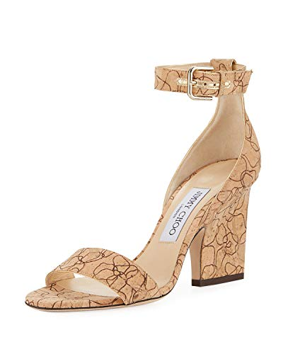 JIMMY CHOO Edina Etched Cork Ankle-Wrap Sandals Shoes 36.5 Tan