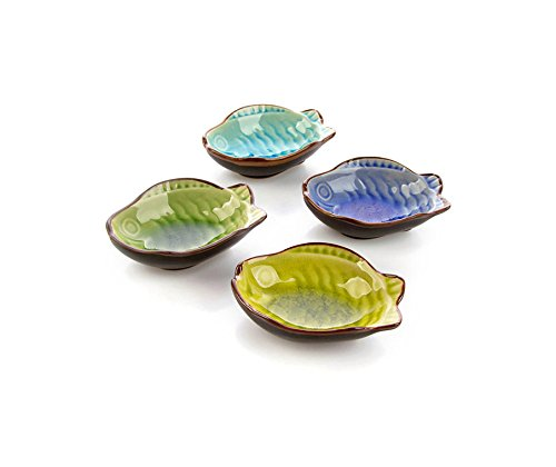 DeFancy 4 Pack Japanese Calvings Glaze Ceramic Side Dish Plate Dipping Sauce Dish (Fish-shaped)