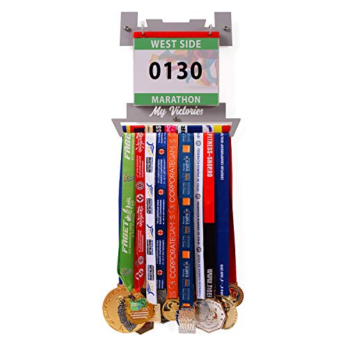 VICTORY HANGERS Combo Medal Hanger | My Victories Race Bib Holder + Medal Rack | V-Shape | Complete Bundle Steel Medal Holder and Bib Hanger for 40+ Medals & 100 Runner Race Bibs
