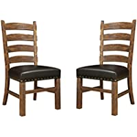 Emerald Home Chambers Creek Brown Dining Chair with Upholstered Faux Leather Seat, Ladder Back, And Nailhead Trim, Set of Two