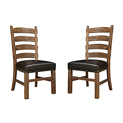 Emerald Home Chambers Creek Brown Dining Chair with Upholstered Faux Leather Seat, Ladder Back, And Nailhead Trim, Set of Two - The Chambers Creek dining chair is beautifully weathered yet built to last, delivering rustic elegance to your dining space Exemplifies rustic style and comes in brown, bringing both personality and function to your home The Chambers Creek dining chair features Upholstered Faux Leather Seat, Ladder Back, and Nailhead Trim - kitchen-dining-room-furniture, kitchen-dining-room, kitchen-dining-room-chairs - 41lkvmDjgJL. SS400  -